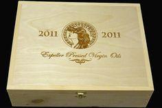 Gorgeous Expeller Oliver Oil custom flip-top 5 bottle wooden wine crate