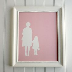 Custom Full Body Silhouette Print -  with 2 figures (couple, family) - made from your photo by Simply Silhouettes