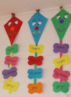 Preschool Activities and Materials Birthday Chart Classroom, Birthday Bulletin Boards, Classroom Charts, Birthday Charts, Art Bulletin Boards, Teacher Classroom Decorations, School Decorations, Classroom Displays, Kids Crafts