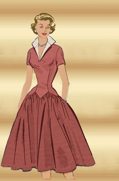 Dress Pattern Marian Martin 9029 Mail Order 1950s Classic with Full Gathered Rockabilly Skirt and Long Waist Torso