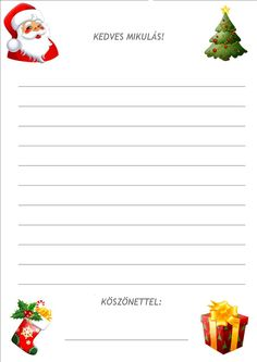 Játékos tanulás és kreativitás: Adventi várakozás 2. nap : Levél a Mikulástól, levél a Mikulásnak French Worksheets, Merry Christmas, Xmas, Kindergarten, Crafts For Kids, Projects To Try, Stationery, Santa, Printables