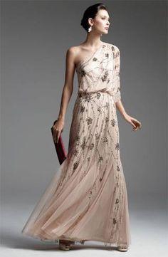 vestido nude bordado para madrinha