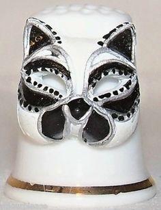 Collectable Fine Bone China Black Gatto Mask Thimble