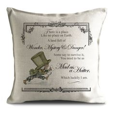 Giraffe and Custard create the most unique and nostalgic, vintage style home decorations and gifts. This is a Beautifully hand made Canvas Cotton pillow cushion cover featuring The Mad Hatter and Mad as a Hatter quote.  Inspired by the classic Alice in wonderland and Alice through the looking Glass story books by Lewis Carroll and the beautiful associated illustrations by John Tensile, these designs have been re-drawn by hand and digitally coloured by ourselves in our creative artists…