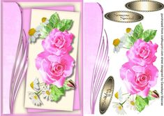 A lovely card with a beautiful Sofia Rose and side plaque has two greeting tags and a blank one