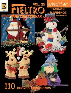 FIELTRO para coleccionar Vol.25 Trabajos Navideños. Book Crafts, Hobbies And Crafts, Decor Crafts, Crafts To Make, Outside Christmas Decorations, Christmas Ornaments, Holiday Decor, Painted Books, Pictures To Paint