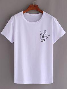 T-shirt motif la main - blanc-French SheIn(Sheinside)