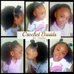 My little one wearing a half head Crochet Braid installation with Bobbi Boss Dual Braid Water Wave. Top knot, double top knot and french braid across the front. Versatile styles with this type of installation. #crochetbraids #protectivestyles #hairextensions #teamnatural #bohemian #crochetbraidsbytwana #bobbibossbulkhair #waterwave #kidhairstyles #kiddiecrochet #blackkidshairstyles www.crochetbraidsbytwana.com