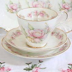 21pcs VINTAGE CHINA TEA SET.BABY PINK.WEDDING.CUPS SAUCERS TEAPOT MILK SUGAR | eBay