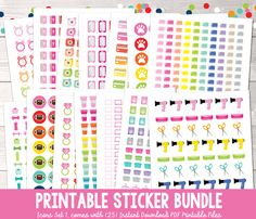 Printable Planner Sticker Bundle for your Erin Condren Life Planner! 25 Printable PDF Functional Planner Stickers