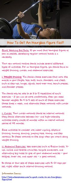 How to get an hourglass figure fast - If you want that hourglass figure as soon as possible, developing regular workout habits is a necessit. Fitness Nutrition, Fitness Tips, Fitness Motivation, Keep Fit, Stay Fit, Hourglass Figure Workout, Abdominal Exercises, Workout Exercises, Weight Training