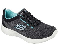 Supreme comfort and sporty style gives you the edge in the SKECHERS Burst - Equinox shoe.  Heathered jersey knit fabric upper in a slip on bungee laced athletic fashion comfort sneaker with Air-Cooled Memory Foam insole and responsive cushioning sole.