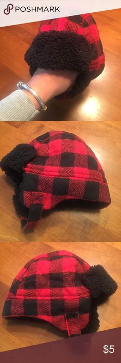 Baby Boy Buffalo Plaid Black & Red Winter Hat  2T Super cute winter hate/ bomber hat for a little boy. This would fit 18-3T depending on head size of baby.    ☀️bundle & save! 3+ items 15% off! 💰 create a bundle for a special offer! ☀️ Toddler & Baby boy items listed frequently! ☀️ I try to list all my items at very reasonable consignment prices, priced to sell.    🚫no low ball offers.  🚫no trades. 🚫no emails, phone numbers or selling off this site. target Accessories Hats