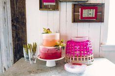 cake table - photo by Danfredo Photos and Film http://ruffledblog.com/bohemian-bridal-shower-at-terrain