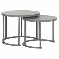 "Showcasing a pearl blue grey finish and cylindrical silhouette, this nesting table set is the perfect addition to your living room or den. Use them to set cocktails and hors d'oeuvres at your next soiree, or stagger them to display a stylish vignette.  Product: Small and large nesting tableConstruction Material: Bayur, engineered wood and plywoodColor: Pearl blue greyDimensions: Small: 15.7"" H x 20.5"" DiameterLarge: 17.7"" H x 23.6"" Diameter"