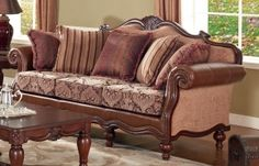 Meridian 609S French Provincial Styled Sofa with bonded leather arms