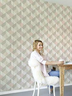 Papier peint Cubes UN3204 rose taupe pastel - GRANDECO
