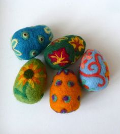 Felted wool eggs $8.00 each via Etsy.