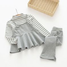 Girls Clothing Dresses Sets New Girls Clothes Long Sleeve Casual Striped Sweatshirts+Pants Suits