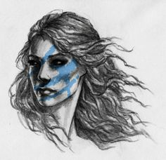 Celtic woman warrior (with different face paint)
