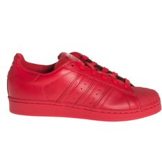 ADIDAS X PHARRELL WILLIAMS Superstar Supercolor Red Flat leather... ($110) ❤ liked on Polyvore featuring shoes, sneakers, adidas, red leather shoes, adidas sneakers, adidas trainers, adidas shoes and leather footwear