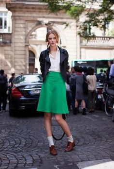 Shop this look for $173:  http://lookastic.com/women/looks/biker-jacket-and-dress-shirt-and-a-line-skirt-and-derby-shoes-and-socks/2568  — Black Leather Biker Jacket  — White Dress Shirt  — Green A-Line Skirt  — Brown Leather Derby Shoes  — White Socks