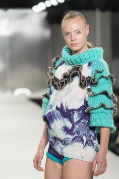 Design by De Montfort University (DMU) Fashion Design student Imogen Abbot on the catwalk at Graduate Fashion Week (GFW) #DMU