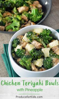These healthy, homemade Chicken Teriyaki Bowls are ready in just 15 minutes. Chicken, broccoli and fresh pineapple give this dish flavor and nutrients. Teriyaki Bowl, Teriyaki Chicken, Rotisserie Chicken, Easy Weeknight Dinners, Frugal Meals, Healthy Meals For Kids, Healthy Recipes, Healthy Food, Yummy Food