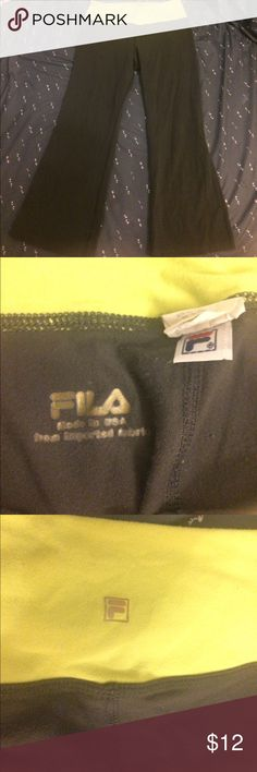 Fila Yoga Pants Gray pants with neon yellow foldover. Capri style. Fila Pants Capris