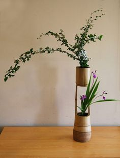 Ikenobo arrangement in a classic bamboo container | Flickr - Photo Sharing!