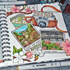 Inspiration, bullet journal inspiration, travel drawing, copic art, wreck t Marker Kunst, Marker Art, Sketch Journal, Book Journal, Journal Ideas, Travel Sketchbook, Art Sketchbook, Bullet Journal Travel, Travel Journals