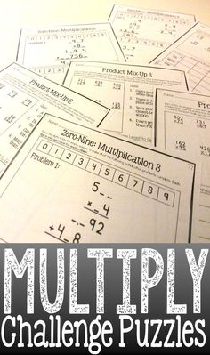 Multi-Digit Multiplication Challenge Puzzles- great way for students who have mastered multiplication to practice critical thinking