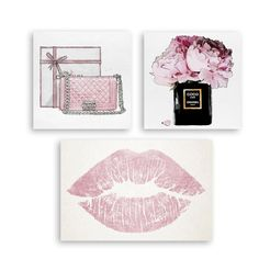 Fashionistas will love glamming up their powder rooms, bedrooms, or living spaces with the Oliver Gal Pink Fashion Canvas Art - Set of 3 . Megan Hess, 3 Canvas Art, Fashion Wall Art, Panel Art, Beauty Room, Pink Peonies, Pink Fashion, Art Pieces, Bedroom Decor