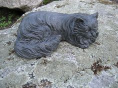 Cat Statue, Long Haired Cat Figure, Concrete Statuette. on Etsy, $25.95