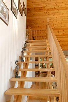 Floating wood-crafted staircase.