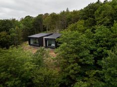 Montreal-based firm Nature Humaine has unveiled a beautiful pair of adjoining cabins tucked into a remote forest outside Quebec. Timber Cabin, Wood Facade, Forest View, Tiny Cabins, Glass Facades, Canada, Prefab Homes, Green Building, Building Design