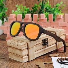Handmade Polarized Wooden Sunglasses With Black Frame in Wooden Box Wooden Sunglasses, Sunglasses Sale, Polarized Sunglasses, Black Bamboo, Mens Style Guide, Mens Glasses, Handmade Design, Wooden Boxes, Eyewear