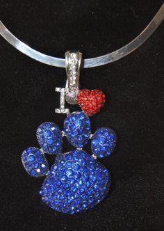 University of Kentucky I Love Paw Blue Rhinestone Magnetic Pendant Jewelry