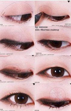 Korean make up. - Korean make up. Korean make up. Korean Makeup Look, Korean Makeup Tips, Asian Eye Makeup, Korean Makeup Tutorials, Natural Eye Makeup, Asian Make Up, Korean Make Up, Eye Make Up, Monolid Makeup