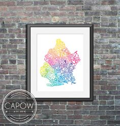 Brooklyn NY  typography map art print 8x10  customizable by CAPow, $25.00