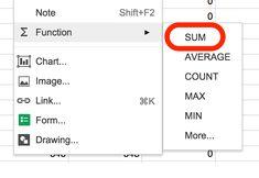 Spreadsheet Sum Function