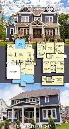 Architectural Designs Craftsman Plan 500040VV gives you over 3,700 sq ft of heated living space with 4 beds and 3+ baths with a bonus room for expansion (500+ sq. ft.) Upstairs switch the laundry room and large jack/Jill bathroom. Love the kids' desk space downstairs!