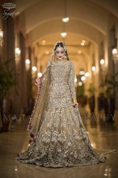 Beautiful Bridal Heavy Work Lahnga in Bronze Golden Color Embellished with Pure Crystals Dabka Nagh Zari Pearls Dull Gold and Silver Load work. Asian Bridal Dresses, Desi Wedding Dresses, Asian Wedding Dress, Bridal Outfits, Indian Dresses, Wedding Gowns, Wedding Groom, Boho Wedding, Party Dresses