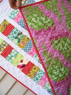 """Red Pepper Quilts: Coin Quilts. The """"coin"""" pieces were cut 2.5 x 4.5 inches and the sashing strips were cut as 1.75"""" strips. The borders are 3.5 inches."""