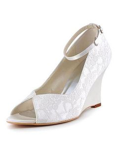 4039d19de3d2 Chic Lace Upper Peep Toe Wedge Heels Wedding Shoes Wedding Wedges