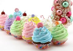 Sugar Plum Fairy Candy Land Faux Cupcakes Topped with Gumdrops...Candy Canes...Peppermint Candy Or Cherries