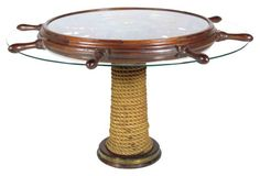 Expertly designed and built vintage custom serving table in the form of a ship's wheel. The top easily rotates supported by a heavy rope-clad mahogany base with brass trim, and large ball bearing guides. Vintage Table, Vintage Home Decor, Vintage Furniture, White Accent Table, Accent Tables, Cape Cod Cottage, Seaside Style, Ship Wheel, Serving Table