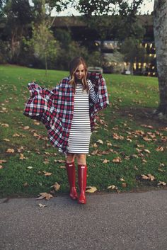 Stripes, plaid and red Hunter Boots