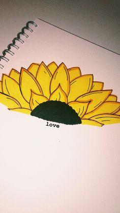 sunflower drawing - Drawing Tips Drawing Tips Cute Easy Drawings, Cool Art Drawings, Pencil Art Drawings, Art Drawings Sketches, Easy Flower Drawings, Drawing Journal, Art Sketchbook, Drawing Tips, Drawing Drawing