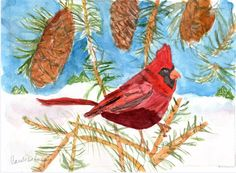 Winter Cardinal by TheMousersHouseArt on Etsy, $3.00